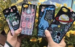 Wholesale Baseball Covers For Iphone - Quicksand Liquid Hard PC TPU Case For Iphone 7 Plus I7 6 6S Earth Cartoon Baseball Star Flow Bling Glitter Magical Dynamic Skin Cover 50pcs