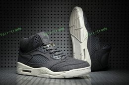 Wholesale Mens Gray Boots - 2017 Air Retro 5 V Wool Men Basketball Shoes Gray Grey Top Quality Retros 5s Sport Shoes Cheap Athletic Trainers Mens Sneakers Eur 41-47