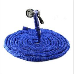 Wholesale Expandable Hose Retail - atering Irrigation Garden Hoses Reels Free shipping 1 Pcs Retail 100FT Garden hose with Spray Nozzle expandable blue water hose Free high...