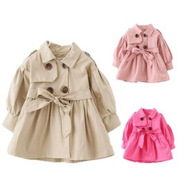 Wholesale Baby Double Breasted Coats - Girls Trench Coat Spring 2017 Children Clothing Kids Double Breasted Jackets Baby Girls Clothes Fashion Infant Toddler jacket Outwear