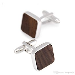 Wholesale Wood Cuff Links - Free Shipping-Europe's most popular Solid wood grain French cufflinks