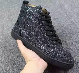 alta moda sneakers glitter oro Sconti New Designer High Top Black Glitter oro Paillette Red Bottom Shoes Scarpe casual Fashion Luxury Sneakers per uomo donna