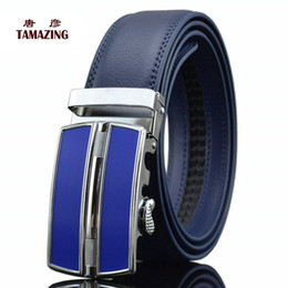Wholesale Wholesale Men S Designer Belts - Wholesale- red blue white black color men's genuine leather high quality 70-130cm designer belts for men