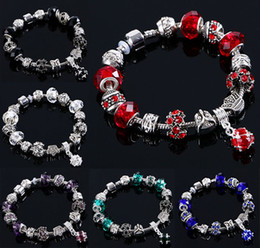 Wholesale Black Murano Glass Beads - beaded charms jewelry bracelets infinity beads bracelet 6 Colors Fashion Silver Daisies Murano Glass&Crystal European Charm Beads Fits