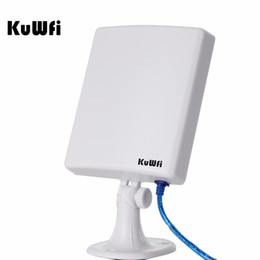 Wholesale Waterproof Wifi Antenna - Wholesale- KuWfi 150Mbps High Gain 14dBi Antenna 5m Cable Wireless USB Adapter High Power Outdoor Waterproof 2.5km Long Range Wifi Receiver