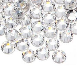 Wholesale Rhinestone Ss3 - 1440pcs lot Super Shiny SS3 SS4 SS5 SS6 SS8 SS10 SS12 SS16 SS20 Clear Non Hotfix Crystal Color 3D Nail Art Decorations Flatback Rhinestones