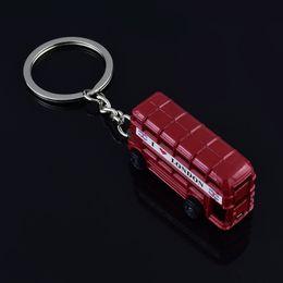 Wholesale London Key Chains - Red London Bus With Union Jack Flag Novelty Keyring Keychain - UK i love london Key Chain Ring Holder Travel Souvenirs