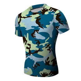 Wholesale Slimming Body Clothes - gym clothing Camouflage t-shirts Body Engineers compression shirt Stadium Men Bodybuilding And Fitness Crime Short Sleeve T-shirt Slim type