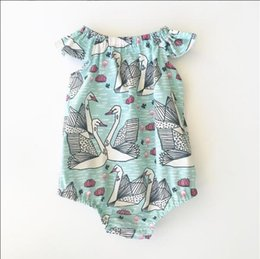 Wholesale Swan Rompers - INS Baby Swan Rompers Summer Infant Fly Sleeve Newborn Cotton Onesies Print Toddler Romper Newest Cute Infant Bodysuit Boutique Clothes