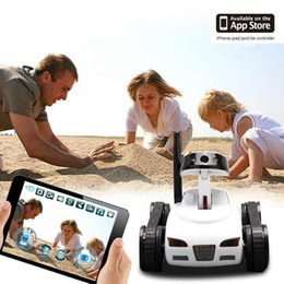 Wholesale Iphone Spy Car - 2017 high quality RC Mini Tank Car Spy with Video 0.3MP Camera WiFi Remote Control By iphone Android Robot with Camera 4CH White S