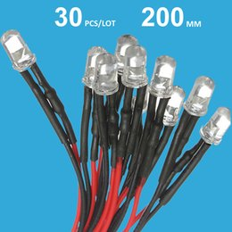 Wholesale 5mm Pre Wired Led - Wholesale- DC 12v Pre Wired LED Diode 12 Volt Light Emitting Diode 5mm Prewired Cable LED Light Bulb Beads White Red Blue F5 Emitting Dio