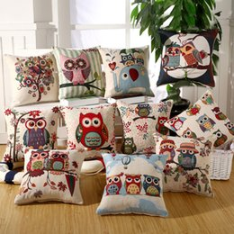Wholesale Wholesale Love Seats - Cartoon Love Owl Pillowcase Cotton Linen Valentine Chair Seat and Back Waist Square Cushion Cover 18x18 inches Home Textile 19 styles