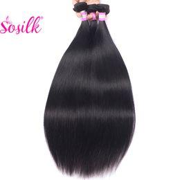 Wholesale Remi Indian Hair - Unprocessed Virgin Sosilk Peruvian Hair Weave Cheap Human Hair 3Pc Remi Peruvian Weft Hair Short Straight Wholesale Prices Peruvian Straight