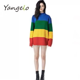 Wholesale Rainbow Stripe Sweater - Wholesale-2016 Spring new winter loose sweater female rainbow gradient wide stripe full sleeve high collar scalp knitting