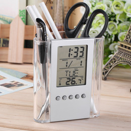 soporte de inserto de plástico Rebajas Envío gratis NUEVA Digital Desk Pen / Pencil Holder LCD Alarm Clock ThermometerCalendar Display venta caliente