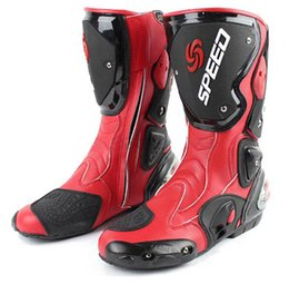 Wholesale Moto Shoes - New SPEED BIKERS Motorcycle Boots Moto Racing Motocross Off-Road Motorbike Shoes Black White Red & can drop ship