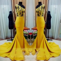 Wholesale Satin One Shoulder Tops - Real Photos Yellow Long Mermaid Prom Dresses 2017 See Through Sheer Lace Top One Shoulder Satin Prom Gowns With Sweep Train