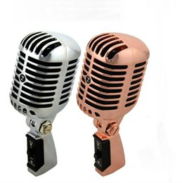 Wholesale Dynamic Vocal Microphone - Professional Wired Vintage Classic Microphone Top Quality Dynamic Moving Coil Mike Deluxe Metal Vocal Old Style KTV MIC