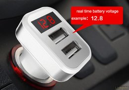 Wholesale Double Usb Car Phone Chargers - Multifuctional Digital Car Charger With Led Show Voltage Current And Double Usb Interface For Mobile Phones, tablets,navigations