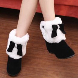 Wholesale Girls Bowties - Wholesale-Women New Autumn Winter Outdoor Ankle Shoes Lady Round Toe Height Increasing Snow Boots Girl Fashion Flock Bowties Cotton Boots