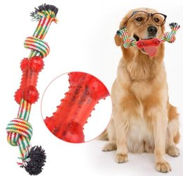 Wholesale Dog Teeth Bones - Pet Dog Toys Cotton Braided Bone Rope Double Knot Cotton Rope Molar Tooth Cleaning Resistance To Bite Pet Toys Training Playing And Chewing