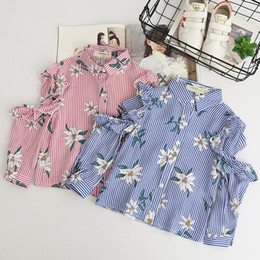 Wholesale Kids Blouses New Style - Everweekend Kids Girls Fashion Flowers Off Shoulder Baby Blouse Shirt Korean Style Buttons Stripe New Autumn Tops