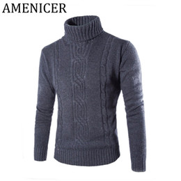 Wholesale Turtleneck Sweaters Sale - Wholesale- Hot Sale Men Sweaters Fashion Jacquard Sweater Slim Fit Turtleneck Turn-down Collar Mens Pullover Pull Homme Marque 2 Color