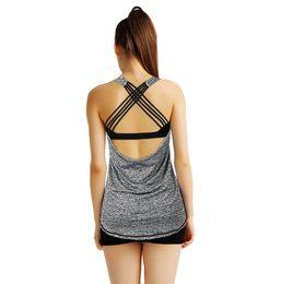 2019 camisetas de tirantes de spandex para mujer Gris Mujer Yoga Camiseta Sexy Strappy Back Crisscross Sports Fitness Gym Camisas Dry Fit Ciclismo Running Burnout Tank Top Blusa camisetas de tirantes de spandex para mujer baratos