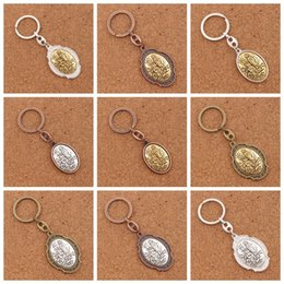 Wholesale Biker Rings Men - 12Colors Our Lady Of The Highway Virgin Mary 2 inch Motorcycle Biker Luck Gremlin Riding Bell or Key Ring Keychain K1739