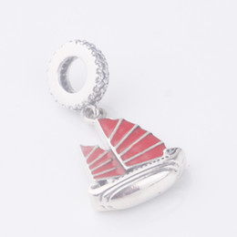 Wholesale Sail Boat Charm Silver - 2017 New Arrival 925 Sterling Silver Charms red enamel ship sailing boat vintage pendant Beads women jewelry Fit for Pandora Bracelets