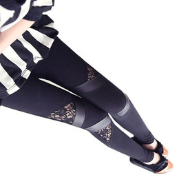 Wholesale Charm Leggings - Wholesale- Hot Charming Warm Cheap Lace Leggings Skinny Stretch Pants for Autumn Winter Triangular Lace PU Leather Leggings