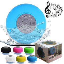 Wholesale Phones Buttons - Mini Portable Subwoofer Shower Waterproof Wireless Bluetooth Speaker Car Handsfree Receive Call Music Suction Mic For iPhone Samsung