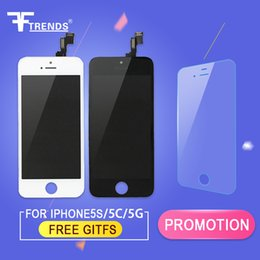 Wholesale Iphone Touch Screen Oem - Black LCD Display+Touch Screen Digitizer Assembly Replacement for iPhone 5S 5C 5 OEM with Free Tempered Glass Screen