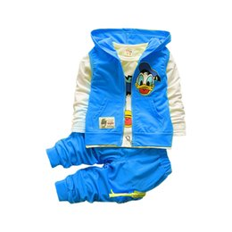 Wholesale Donald Duck Suit - Wholesale- New Donald Duck Baby clothing boys and girls Set sport Suit 3Pcs vest+T-Shirt+Pants baby Summer Sets 2-5yrs baby clothing