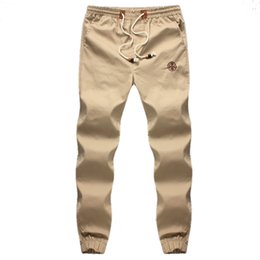 Wholesale Mens Khaki Trousers - Wholesale- Plus 5XL Mens Joggers 2016 Brand Male Trousers Men Pants Casual Solid Pants Sweatpants Jogger khaki Black