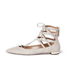 Discount pointed ballet pumps - Zandina Handmade Fashion Crisscross Ankle Strap Flats Pumps Pointed Toe Zipper Closure Party Prom Ballet Shoes Light-gray