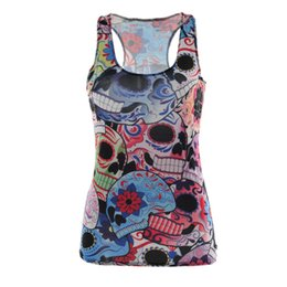 Wholesale Skull Shirts Wholesale - Wholesale- Hot Summer Tees Femininity Women T Shirt 3D Vest Tops Skull Bone Camisole Sexy Top Slim Fit Tops Women Vest Fitness