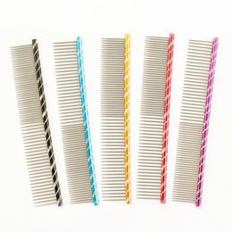 Wholesale dog rake - armipet Dog Pet Comb 6062003 Bright Multi-Colored Stripe Grooming Comb For Shaggy Cat Dogs Barber Grooming Tool Salon 5 Color