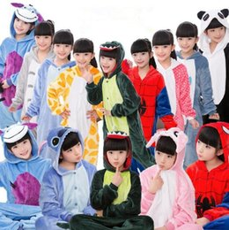 Wholesale Flannel Pajamas - 21 Designs Kids Flannel Unicorn Warm Pajamas Kids Pikachu Unicorn One-piece Home Cosplay Nightwear Dinosaur Stitch Pajamas CCA7510 20pcs