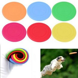 Wholesale Flying Puppies - 6.9inch Colorful Round Flying Pan Pet Dog Training Frisbee Flying Disc Silicone Throwing Toy for Puppy