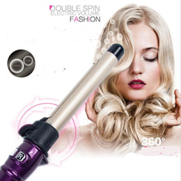 Wholesale Rotary Irons - professional anion auto rotary electric har curler hairdressing styling curling iron roller wand tool automatic hair salon wave kits
