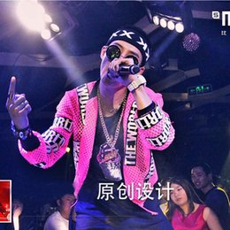 Wholesale Cool Fancy Dress - Wholesale- Cool Night Club Dance Soul DS DJ Singer Rapper Fashion Mesh Jacket Coat Clubwear Clothing Fancy Dress Outfit for Women and Men