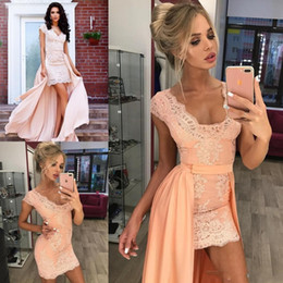 Wholesale White Mini Dress Train - 2017 Homecoming Dresses A Line V Neck Cap Sleeve High Low Cocktail Party Dresses With Lace Detachable Train Graduation Prom Dresses