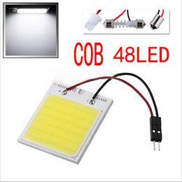 Wholesale Led Car Light Bulb Socket - 10pcs Lot Car Vehicle LED 48 SMD COB Chip 48LED 12V DC With T10 + Festoon Socket Panel Light Interior White Bulb