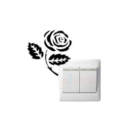 Wholesale Pink Laptop Stickers - Rose flower switch laptop cup family Wall stickers decoration decor home decals fashion waterproof bedroom living sofa