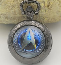 Wholesale High Fashion Pocket Watches - Wholesale-Hot Selling Style Star Trek Theme 3 Colors Pocket Watch Necklace Black Silver Bronze Chain High Quality Fashion Fob Watches New