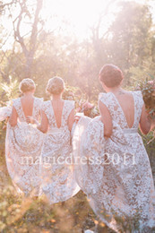 Wholesale Australia Dresses - 2017 Rustic Australia Blush Lace Bridesmaid Dresses with Cap Sleeves A-Line Jewel Vintage Summer Beach Country Party Dress for Wedding
