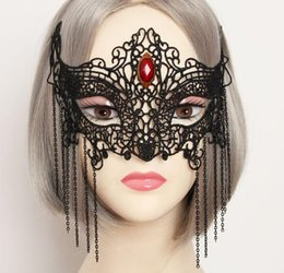 Wholesale Sexy Head Jewelry - a77 Europe and the United States fashion half face sexy goggles black lace fox mask exaggerated dance head jewelry wholesale