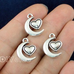 Wholesale tibetan charms heart - 70pcs- Antique Tibetan Silver Moon Heart Charms Pendant 17x14mm Best Gifts For Lovely Connector DIY Jewelry Making