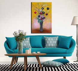 Wholesale Canvas Painting Vases - 2017 Paintings Cuadros Real Canvas Painting Free Shipment Odilon Redon-vase Of Flowers Reproduction Art Picture Paint On Prints
